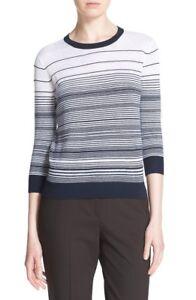 NWT-Theory-039-Rainee-E-Prosecco-039-Stripe-Sweater-White-Deep-Navy-245-S-M