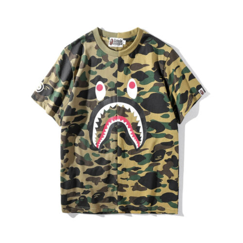 New Men/'s Bape A Bathing Ape Camo Shark Head Short Sleeve Crew Neck T-shirt Tee