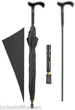 Harvy Derby Handle Handcrafted Black Unisex Umbrella with Hidden Cane Inside