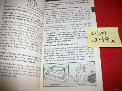 1989 FORD ORIGINAL FACTORY OWNER/'S MANUAL GUIDE ESCORT MODELS  #FPS-12051-89.5A