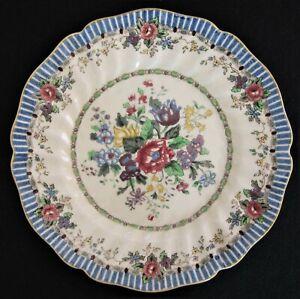 """Royal Doulton Salad Dessert Plate """"The Vernon"""" D5124 Art Deco Blue 8.75"""" c1935"""