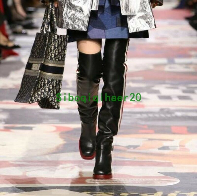 Runway Occident Womens Knee High Boots Boots Boots Party Multi Leather Block Heel Plus Sz 11 15f0e4