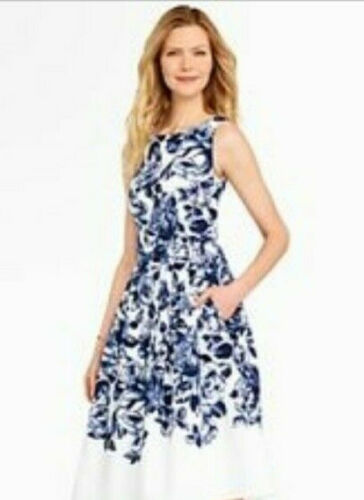 TALBOTS WHITE AND BLUE FIT AND FLARE DRESS Size 16
