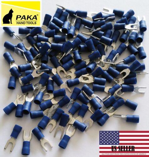 #8 Stud Size 4.3mm 100 PCS Spade fork Terminals Vinyl BLUE 16-14 Wire Size