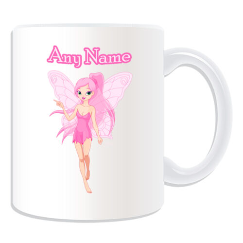 Personalised Gift Pink Fairy Mug Money Box Cup Tale Name Message Girl Butterfly