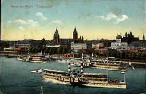1920-Rhein-Schiffe-Dampfer-an-der-Anlegestelle-Mainz-mit-Totalansicht-der-Stadt