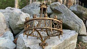 Vintage-Antique-Grand-Gothic-Arts-Crafts-Mission-Large-Chandelier-12-Light