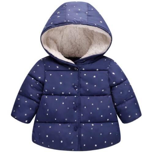 Kids Baby Boys Girls Star Padded Hoodie Coat Winter Warm Hooded Jacket Outerwear