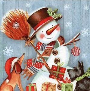 4-serviettes-en-papier-napkins-decoupage-collage-33-cm-NOEL-BONHOMME-NEIGE-NO405