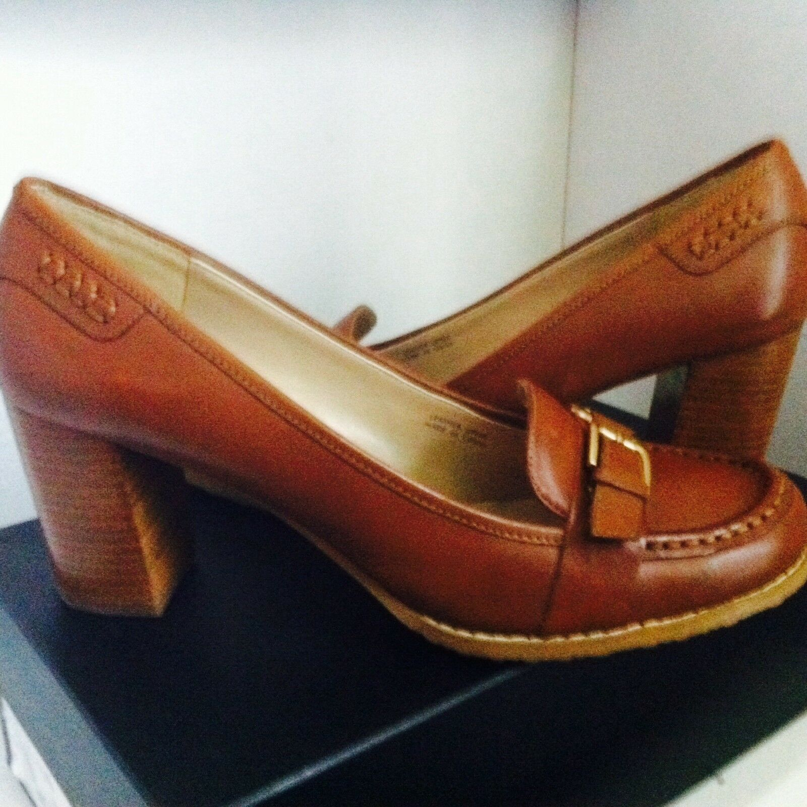 NEU Wmns Größe 11 ELLEN TRACY Genuine Leder Schuhes Block Heel Pump COGNAC BROWN