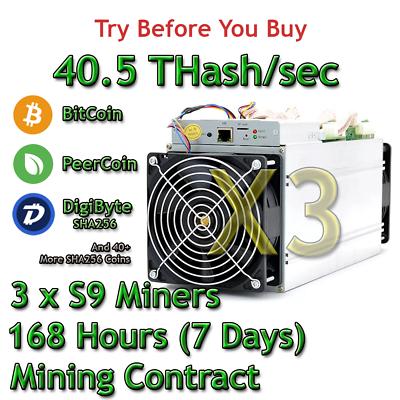 Bitcoin Bitcoin,SHA256 MINING CONTRACT-168 Hours-1 Week Antminer S9-27Th//s