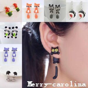 1Pair New Animal Jewelry Lovely 3D Cartoon Fox Earrings Ear Stud Polymer Clay