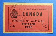 1946 CANADA REVENUE PRISONER OF WAR FRANK VD # PWF6 USED ON PIECE        CS30002