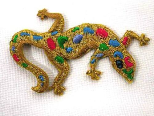 Gold Metallic Gecko Lizard Embroidered Iron On Patch