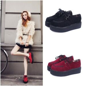 Image is loading FASHION-WOMENS-PLATFORM-LACE-UP-LADIES-FLATS-CREEPERS-
