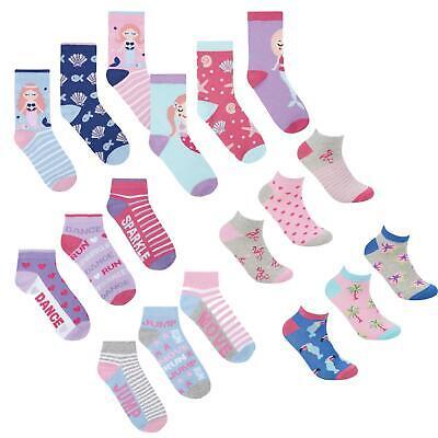 Trainer Liners 6 pairs Girls Kids Novelty Cotton Rich Mermaid Design Socks