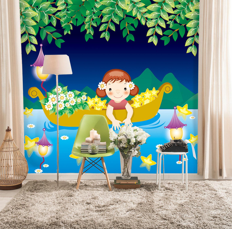 3D Lake, cute boat 245 Wall Paper Print Wall Decal Deco Indoor Wall Murals