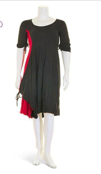 BORIS INDUSTRIES raffiniertes Lagenlook Kleid Baumwolle schwarz-rot 48 (5)