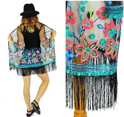 Boho Kimono Cardigan Veste Haut Plage Soirée Festival d/'été brodé-noir
