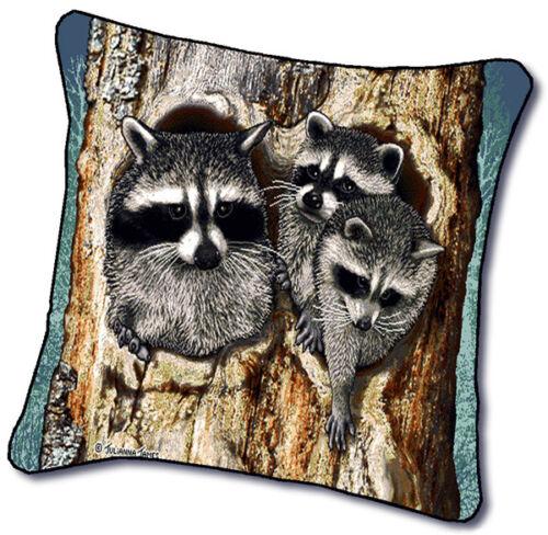"18/"" RACCOON Wildlife Nature Tapestry Cushion Pillow"