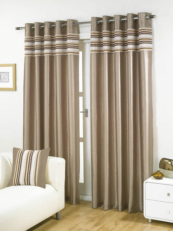 Latte Beige Cascada DE ORIFICIOS FORRADAS pesadas cortinas de 4 Tamaños