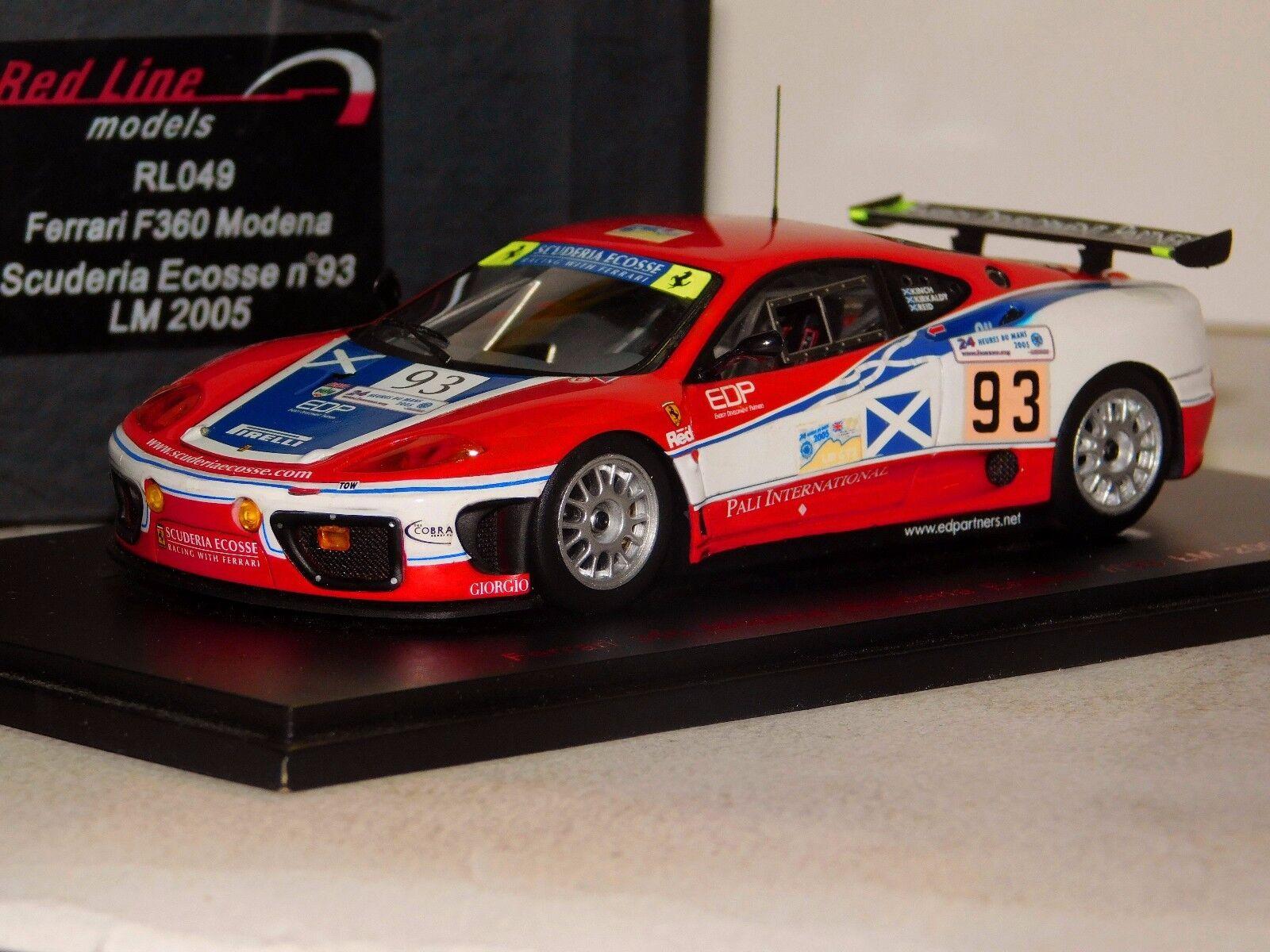 suministramos lo mejor Ferrari F360 Modena Scuderia Ecosse    93 Edición Limitada Mans 2005 rojoline RL049 1 43  ventas calientes