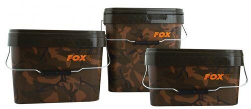 Boilieeimer Futtereimer für Angelköder Fox Camo Square Carp Bucket Eimer