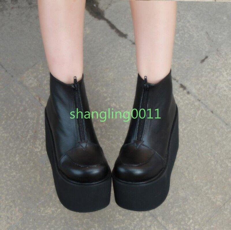 Womens Girls Lolita Lolita Lolita Black Punk Wedge Heels Platform Creepers Cosplay Boots shoes 6f928d