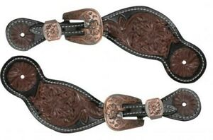 Showman-BLACK-MEDIUM-OIL-Floral-Tooled-Leather-Spur-Straps-w-Engraved-Buckles