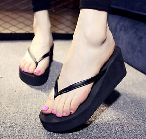 fc4c263af33223 Womens Girls High Platform Wedge Flip Flops Thong Fashion Beach ...