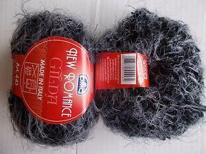 DMC-New-romance-Gilda-fuzzy-boucle-yarn-charcoal-lot-of-2-76-yds-each