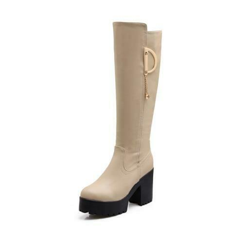 Details about  /Women/'s Chunky Heel Gothic Knee High Boots Ladies Non-slip Sole Winter Shoes D