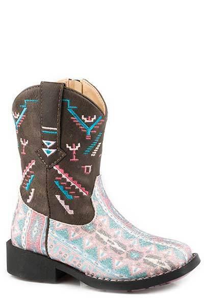 Roper Toddler's Little Girls Glitter AZTEKA bluee Pink Leather Square Toe Boots