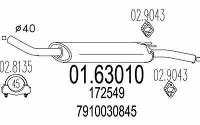 POLMO 19-11 Endschalldämpfer Endtopf Peugeot 104 78-84//Citroen Visa 11 78-88 1.