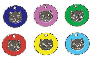 Inciso Animale Domestico Gatto Gattino Identità A Disco, Disco Id, Id Tag Gatto Faccia, Personalizzata-