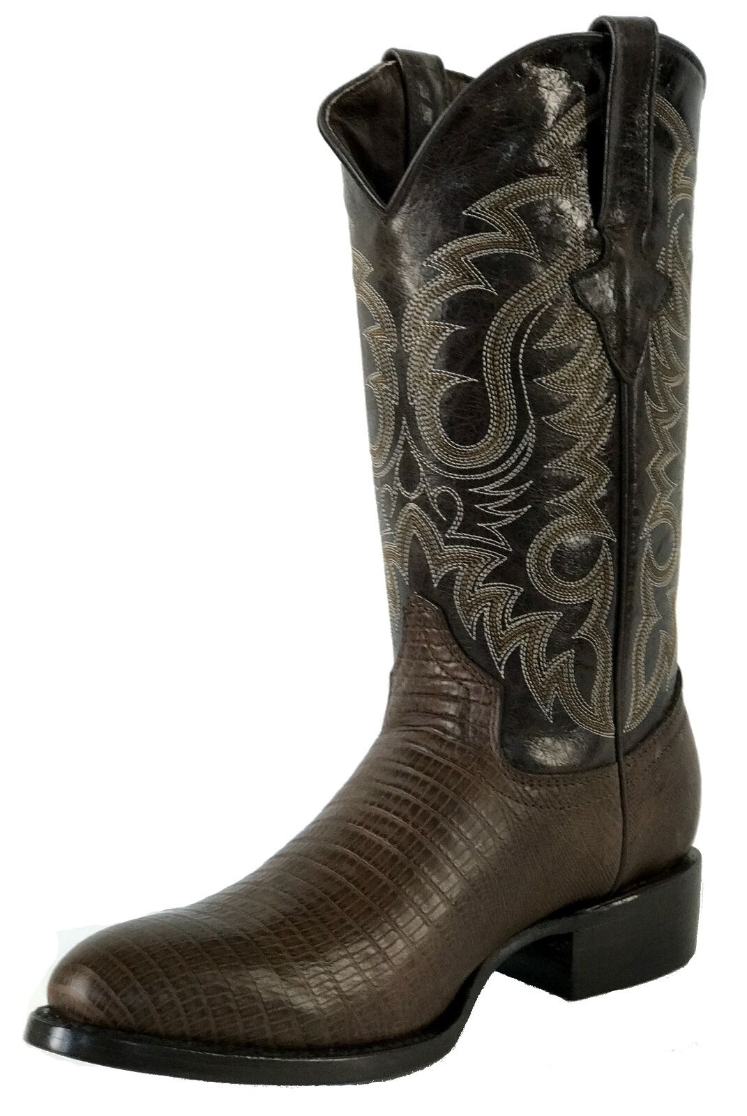 Men's New Leather Exotic Lizard Design Rodeo Western Cowboy Boots R Toe Brown