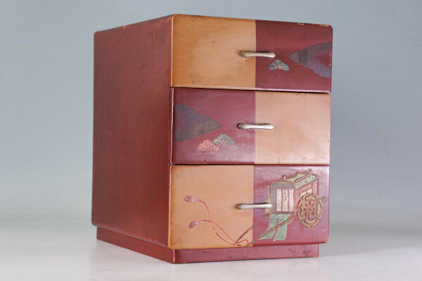 Japanese Vintage KOTANSU Wood Small Chest HEIAN motif Hand painted  222a36