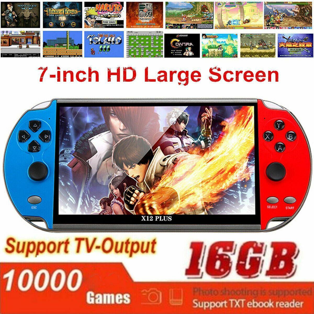 "Game Consoles X12 Plus 7"" 16GB Retro Handheld Portable 10000 Games Video Console"