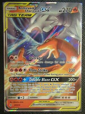 Ultra Rare Mint Condition Reshiram /& Charizard GX #20//214New Pokemon Card