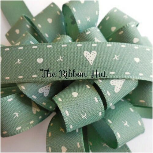 15mm Hearts /& Kisses Printed Ribbon 3 Lengths 4 Colours by Berisfords