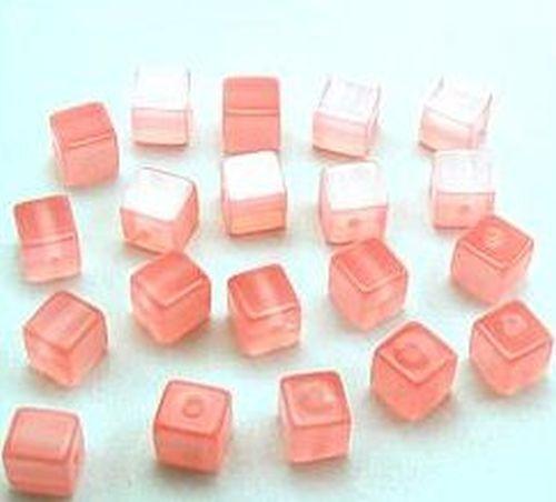 20 Polar-Cube Brillant Environ 8 mm #14 Rose