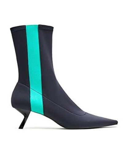 ZARA POINTED PIN HEEL ANKLE BOOTS WITH CONTRASTING DETAIL NAVY Blau R. 7111/201