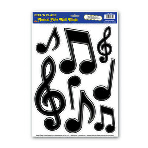 Peel 'N Place Black Musical Note Wall Clings - 1 sheet of 8 Clings - Party Decor