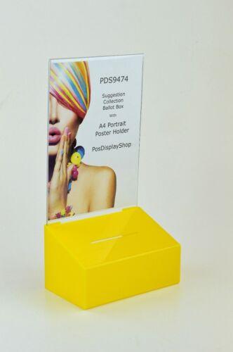 Suggerimento//scatola di raccolta con poster A4 Ritratto titolare PDS9474 GIALLO A4P