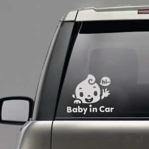 Chic-034-Baby-In-Car-034-Waving-Baby-on-Board-Cute-Safety-Sign-Car-Decal-PET-Sticker