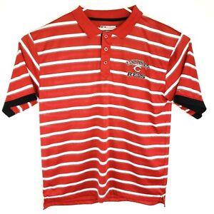 True-Fan-Mens-MLB-Cincinnati-Reds-Striped-Polo-Shirt-Size-XL-100-Polyester