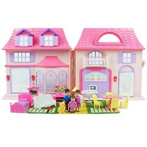 Doll-House-Toy-Playset-21-Piece-Portable-Furniture-Accessories-Girls-Kids-Toys