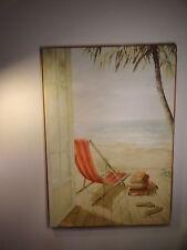 """Stretched Canvas Print """"Solitaire Sur la Plage"""" by Fabrice de Villeneuve"""