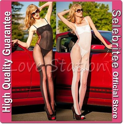 Sheer Bodystocking Open Crotch in Red Cross/Corset Design Selebritee C153