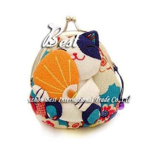 Brand New Kawaii Japanese Kimono Lucky Fortune Cat Maneki Neko Clip Coin Purse